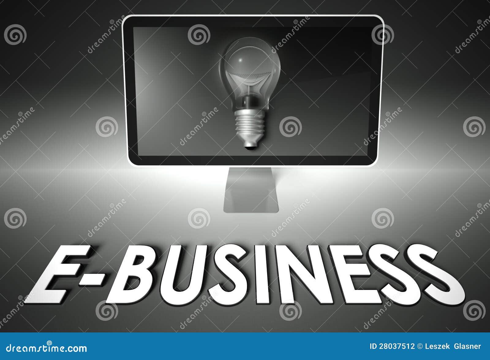 Tela e ampola com comércio electrónico, comércio electrónico