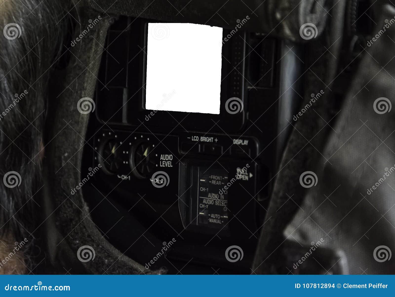 Tela lateral de uma câmara de televisão