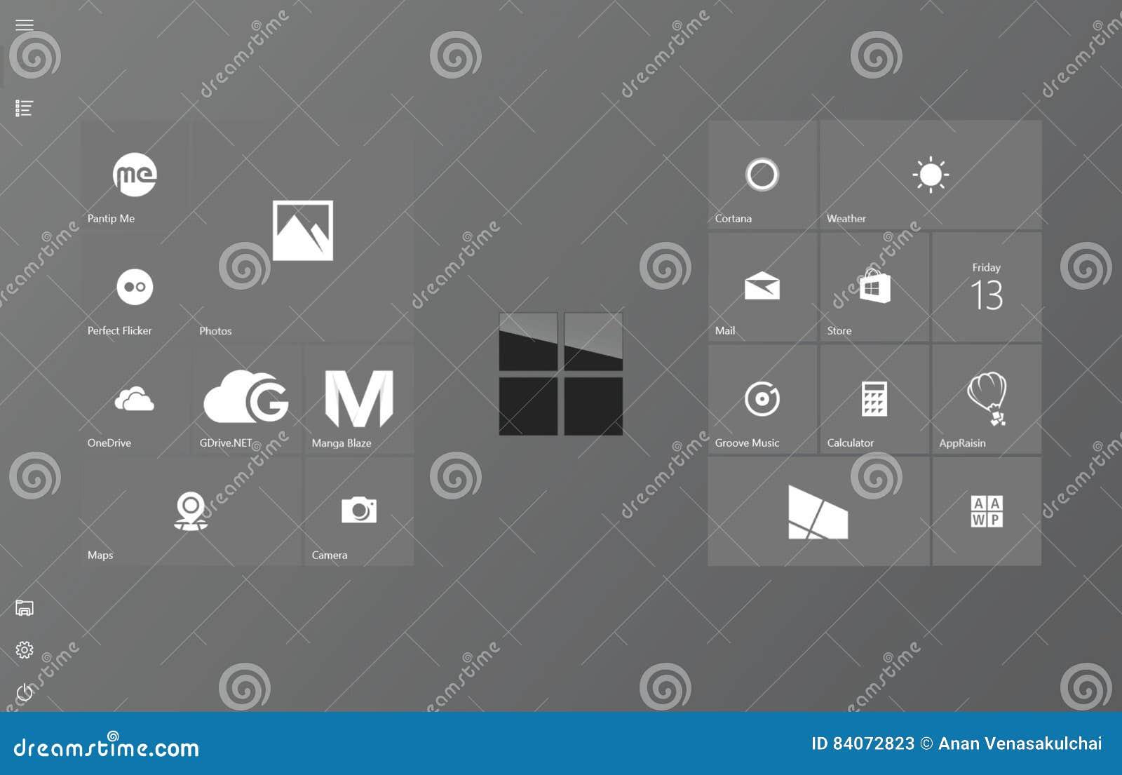 Tela limpa e elegante do começo do modo da tabuleta de Windows 10