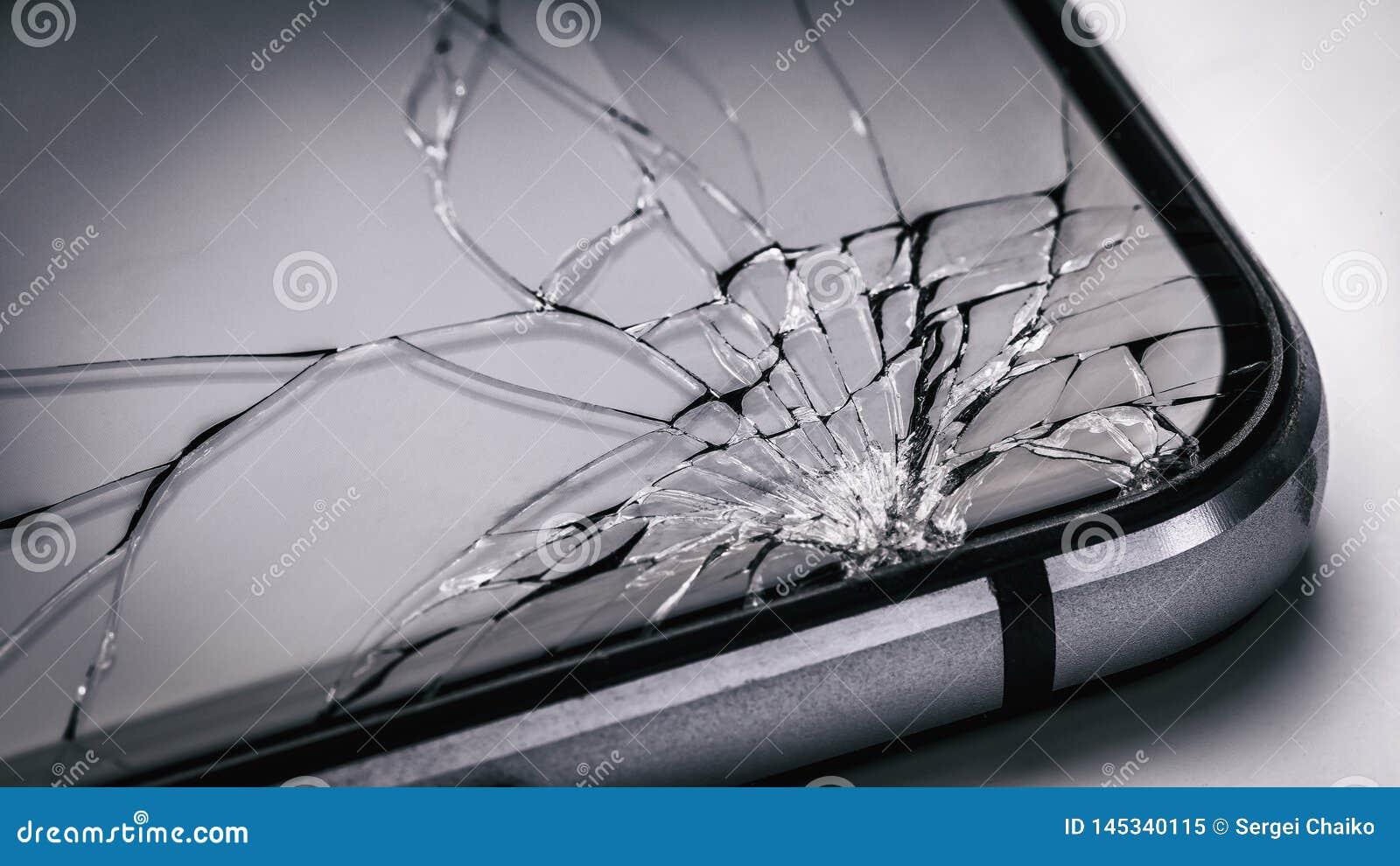Tela quebrada do telefone celular Vidro fraco em dispositivos modernos