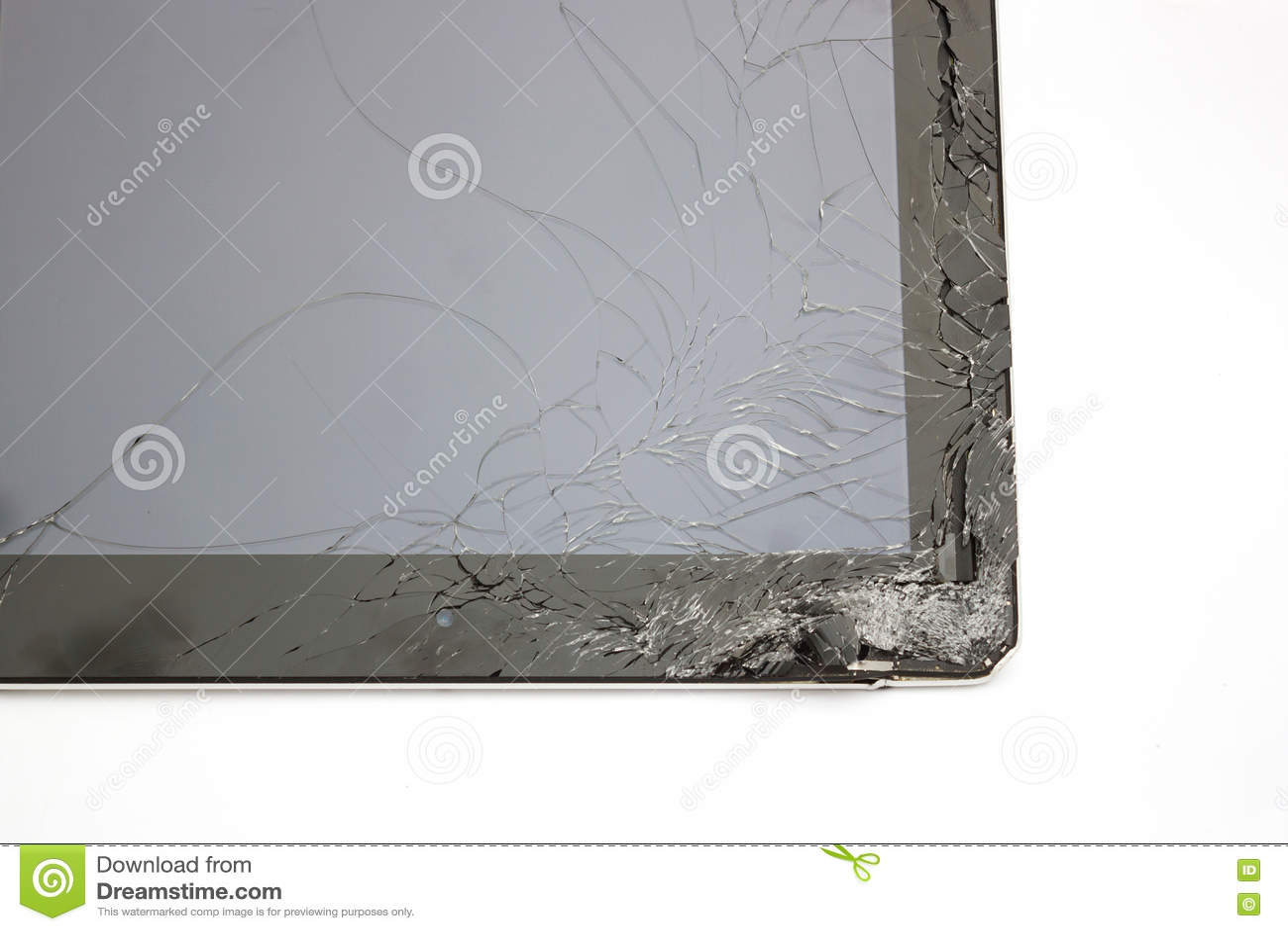 Tela táctil quebrado close up da tabuleta