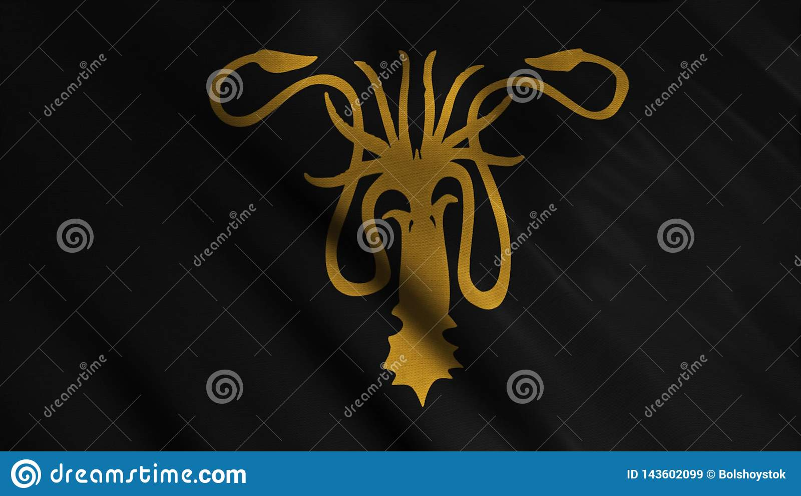 Tela tornando-se abstrata da bandeira animation A silhueta de dourado kraken com os tent?culos no fundo de tornar-se