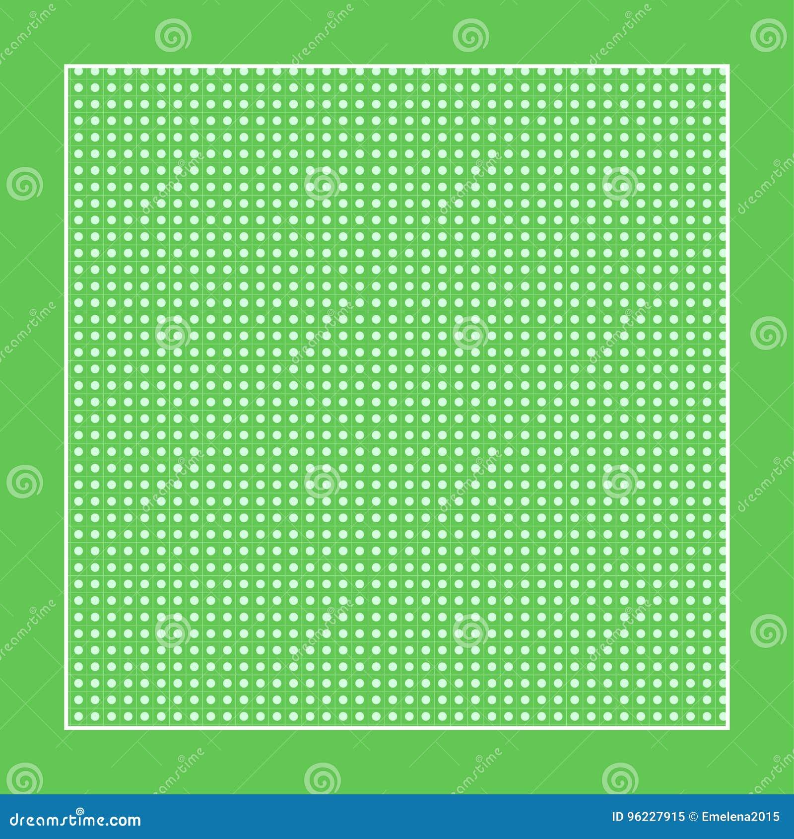 Tela Verde A Cuadros Con Círculos Blancos Y Un Marco Stock de ...