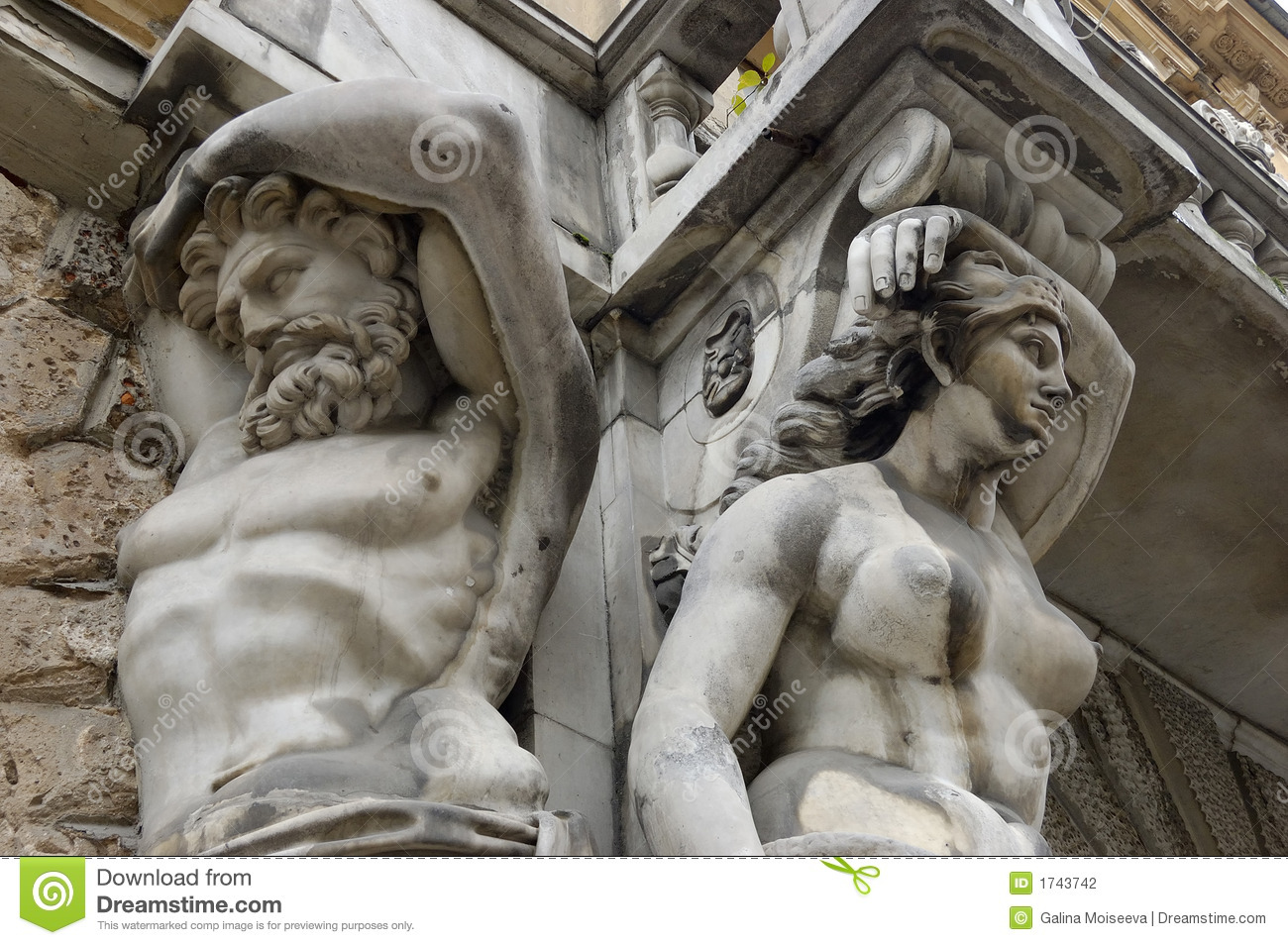 Telamon and a caryatid stock photo. image of saint, curves -.
