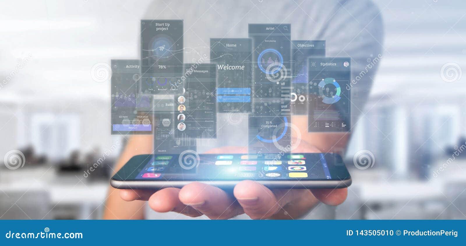 Telas da interface de usuário da terra arrendada do homem de negócios com rendição do ícone, do stats e dos dados 3d