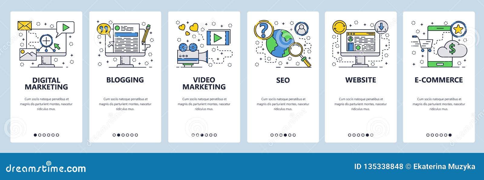 Telas onboarding do site SEO, mercado digital, compra em linha, vídeo Molde da bandeira do vetor do menu para o Web site e
