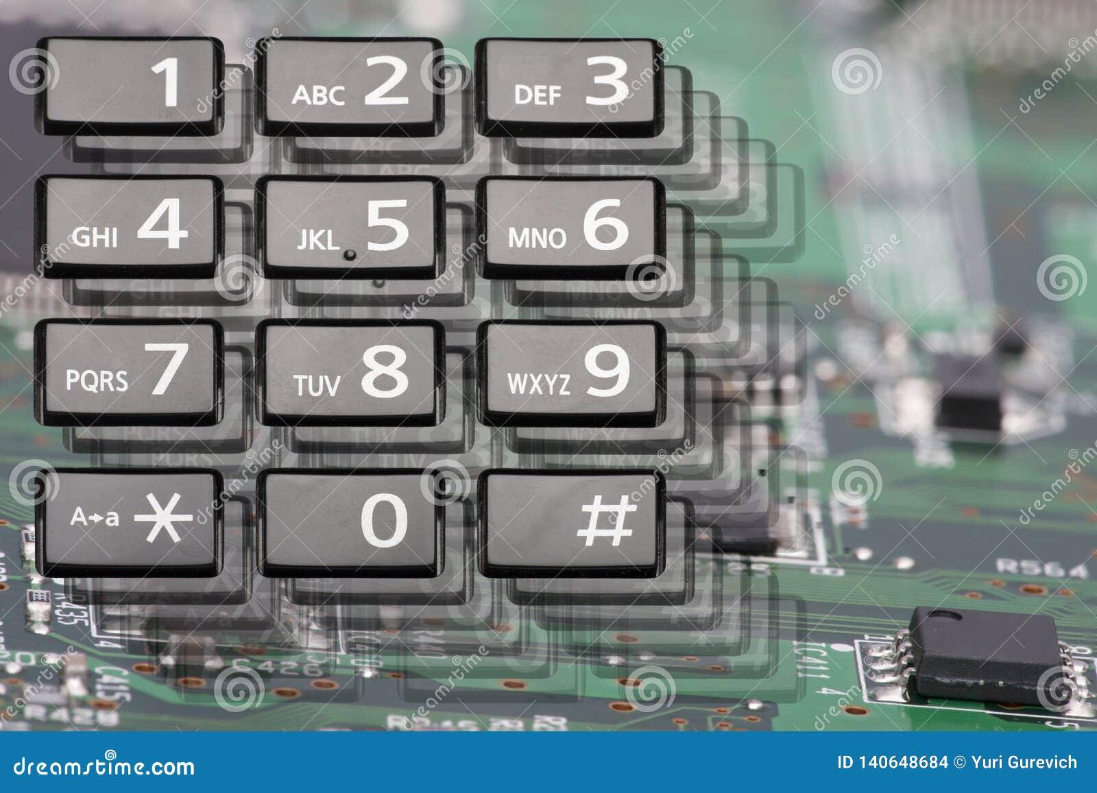 Telclado numérico del teléfono con los botones rectangulares cerca para arriba