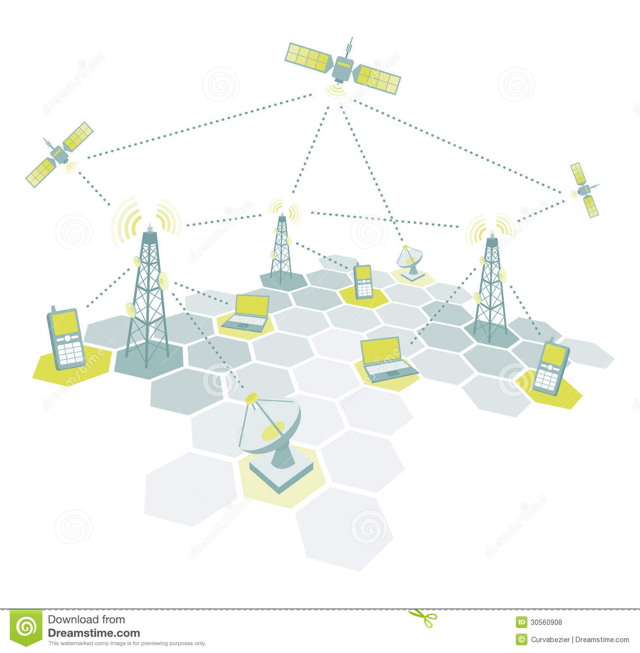 Telecom Working Diagram Stock Vector  Image Of Internet