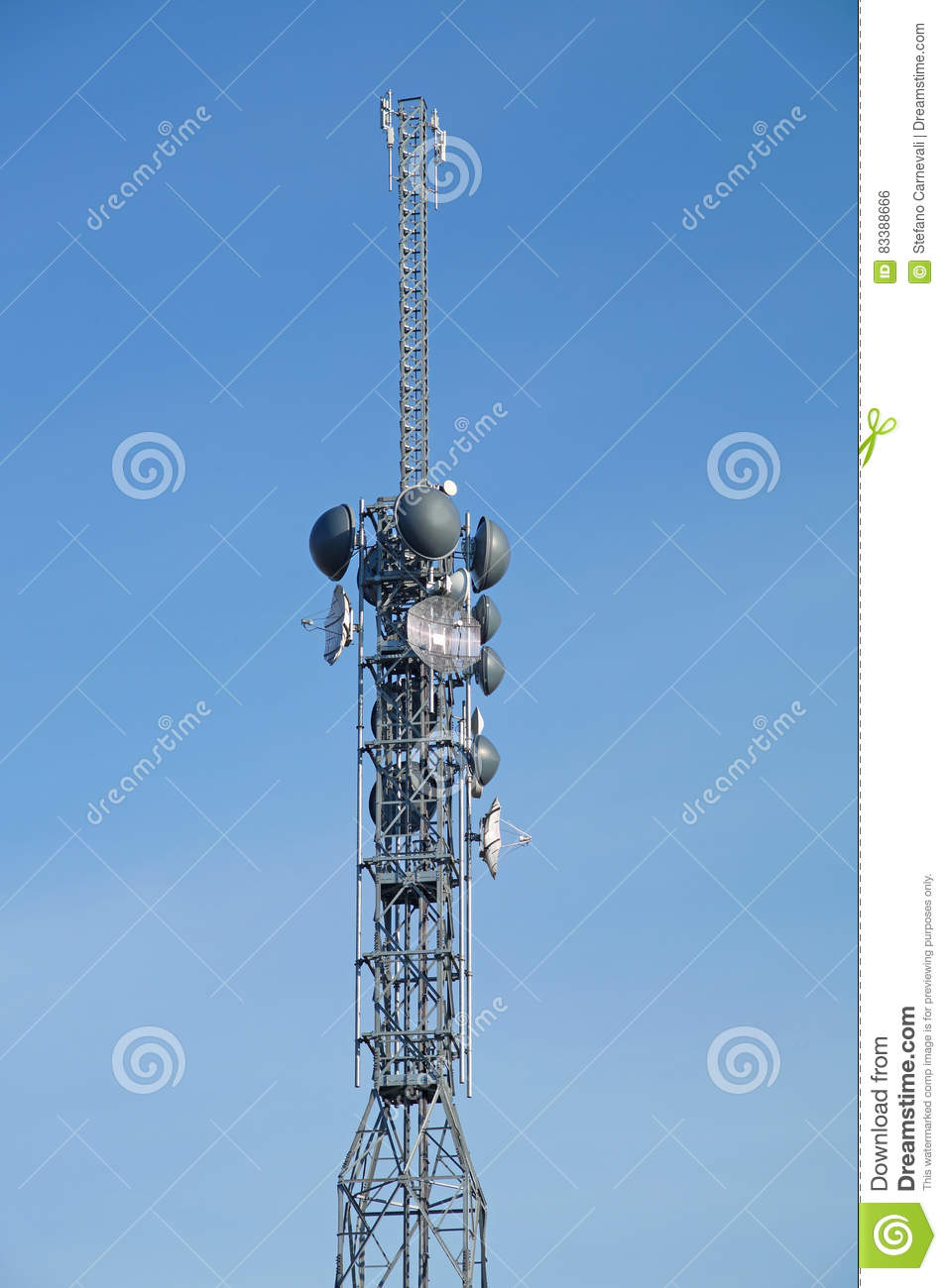 Telecommunication pole tower television antennas with blue sky