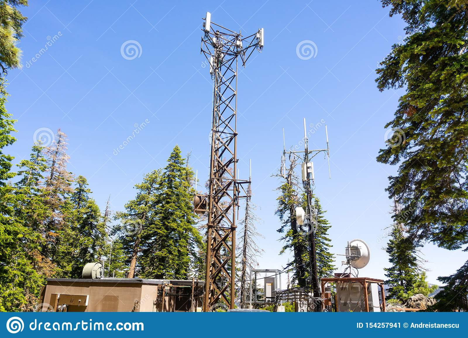 Telecommunication station and antennas located in Yosemite National Park, Sierra Nevada mountains, California