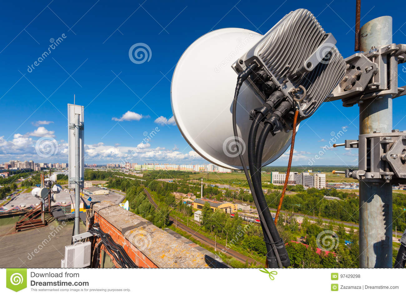 Telecommunication tower with wireless communications systems are including microwave, panel antennas, fiber, optic and power cabl