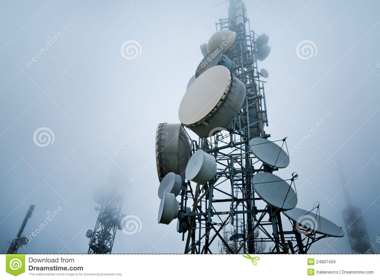Broadcast Tower Vector Telecommunications Tow...