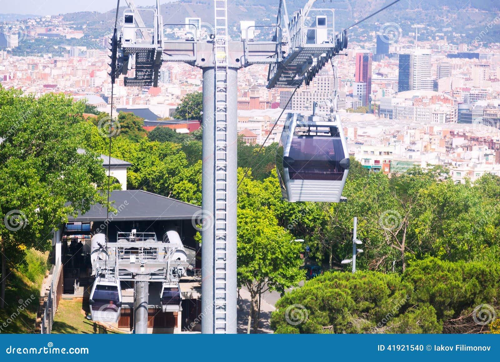 Teleférico de Montjuic en Barcelona, España