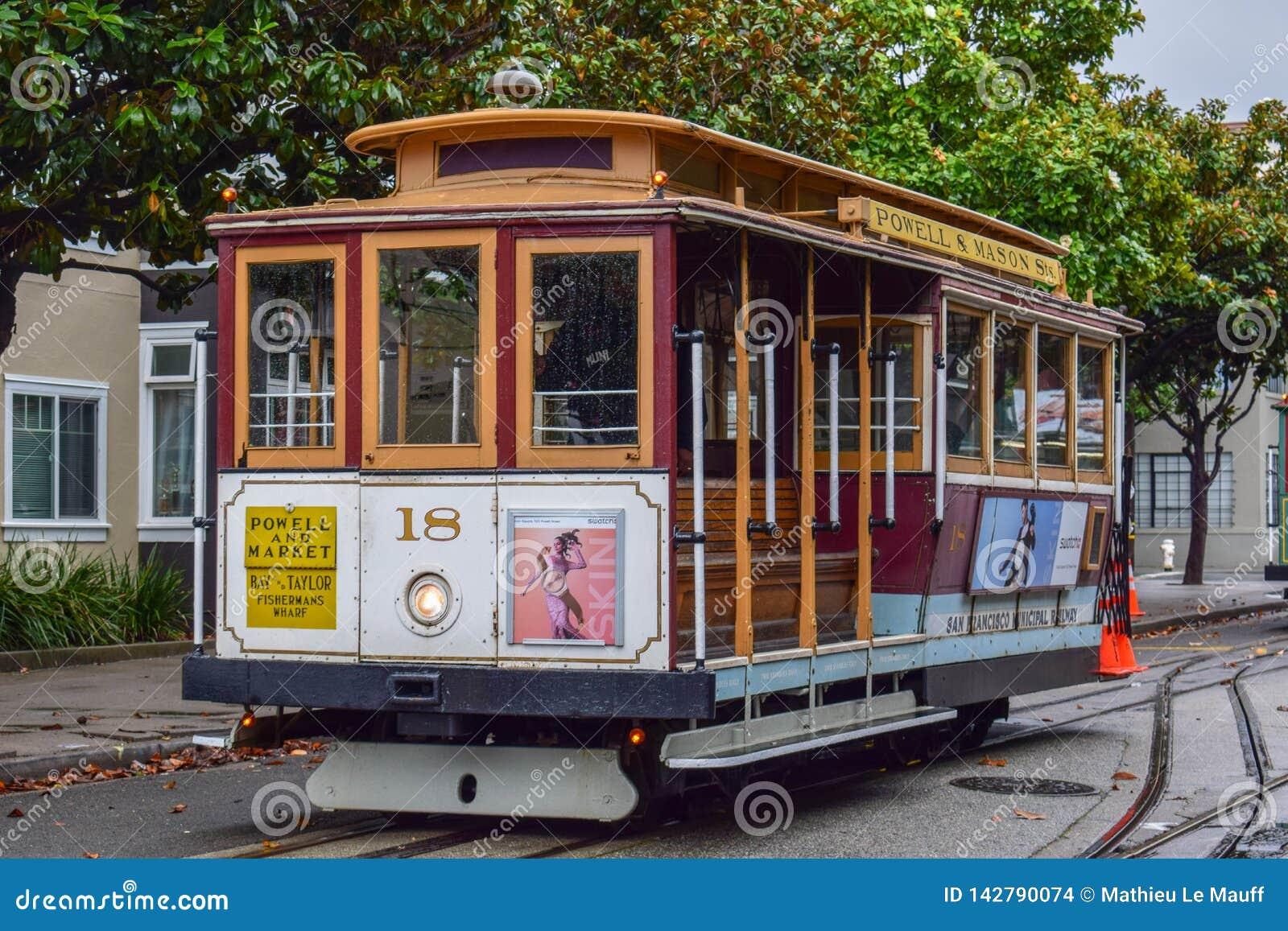 Teleférico vazio do close-up em San Francisco, CA