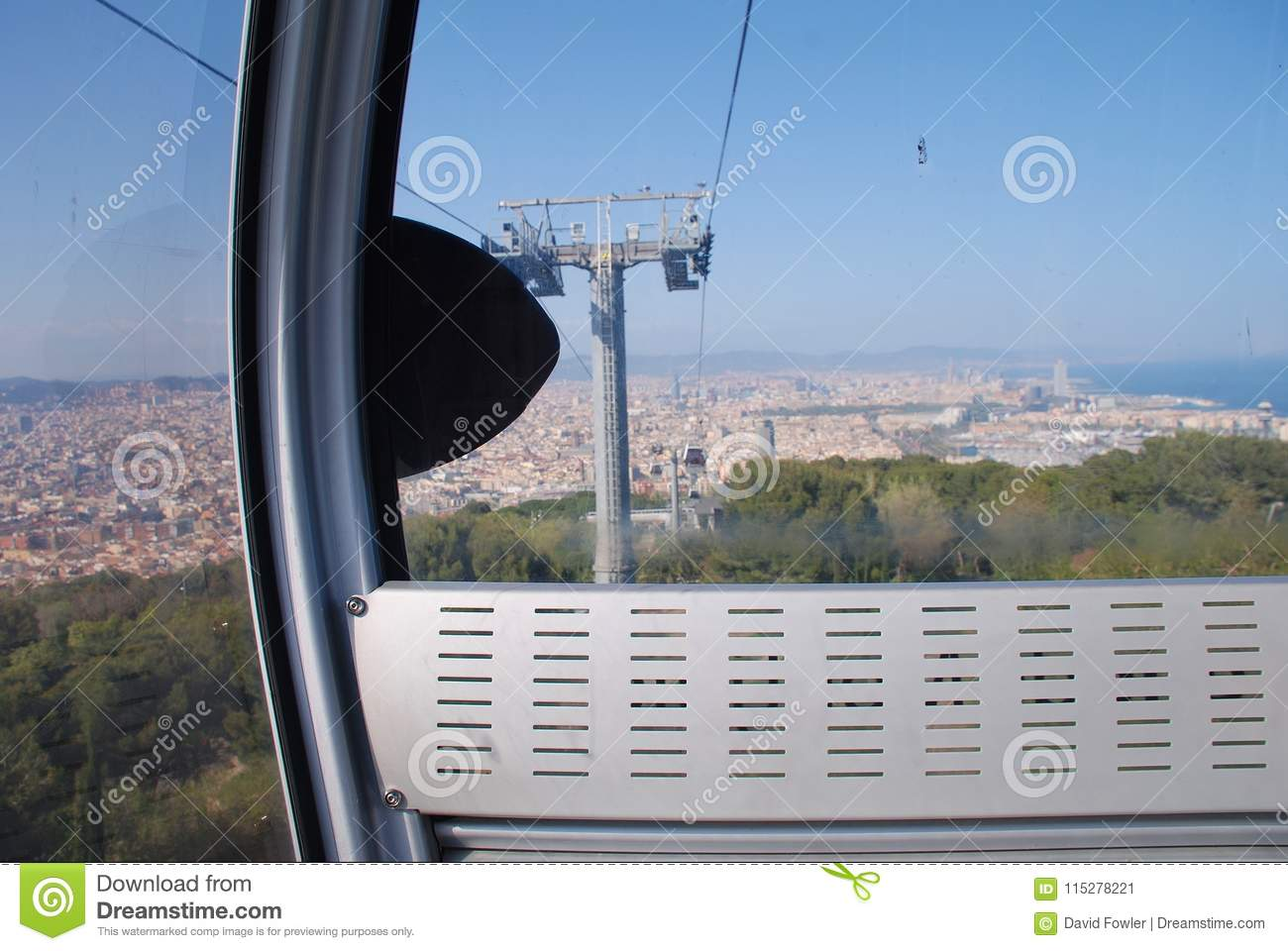 4e6a84c9f70 Inside a pod on the Teleferic cable car line at Montjuic hill in Barcelona