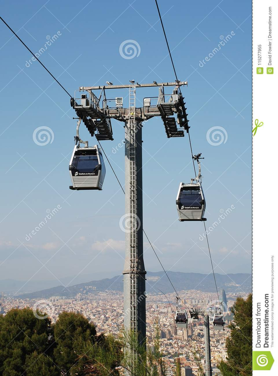 71ad9ed562c Teleferic Cable Car Line In Barcelona Editorial Image - Image of ...