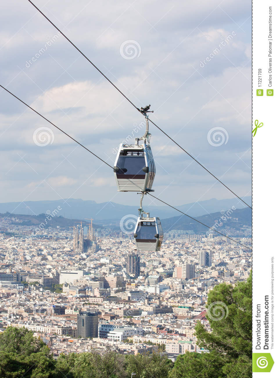6597723bfc9 Teleferic Cable Cars Over Barcelona Stock Image - Image of montjuic ...