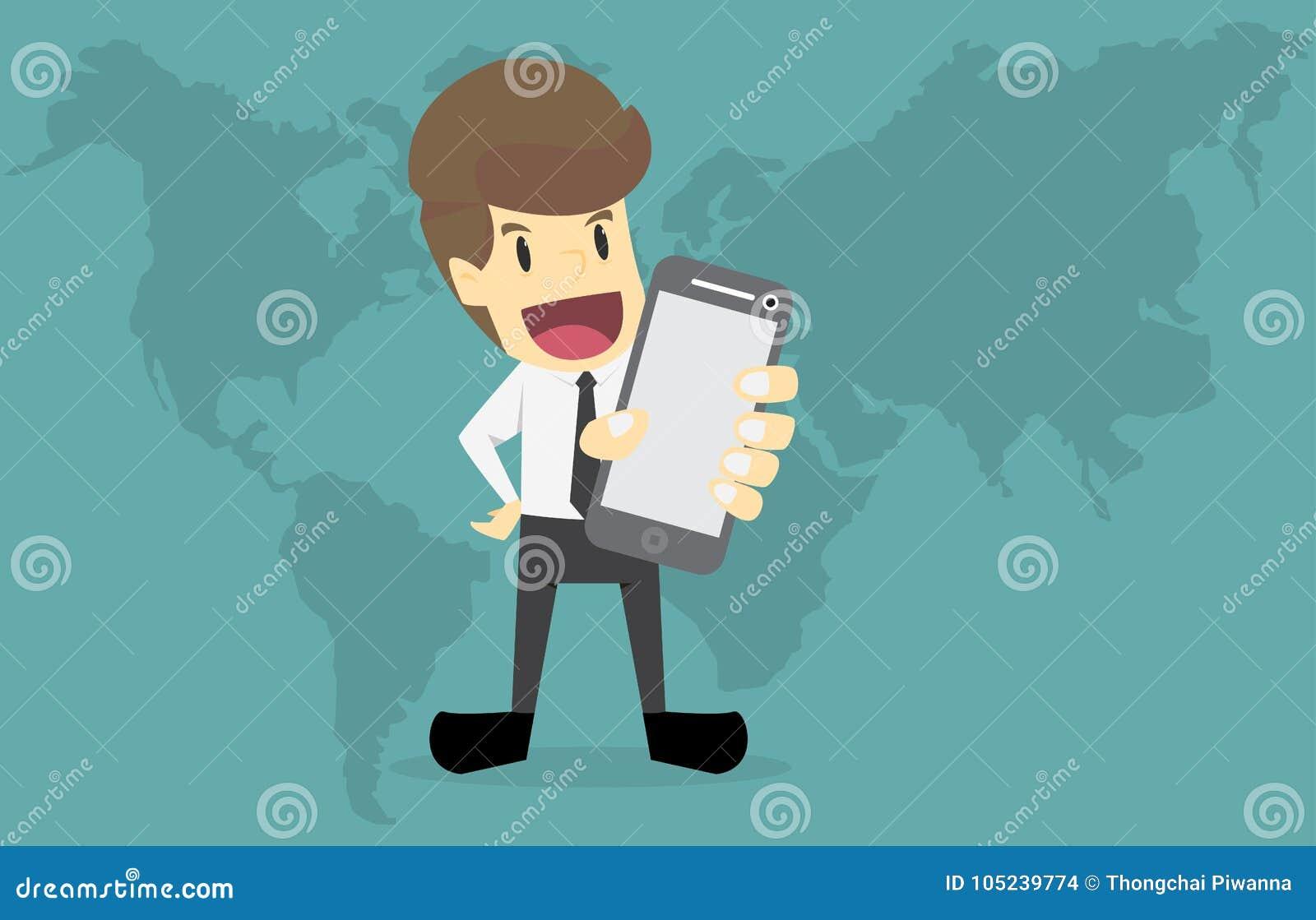 Telefon för hållande mobil för affärsmanhand smart, globalt nätverk och D