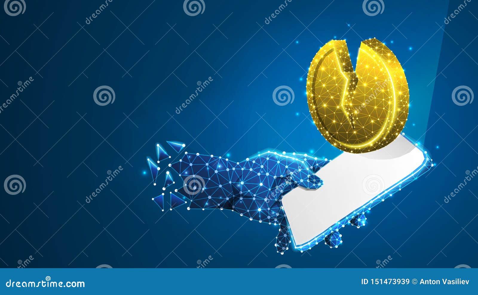 Telefon i en hand, guld- brutet mynt på den vita mobila skärmen Pengardowntrend, investeringappbegrepp Abstrakt digitalt, wirefra