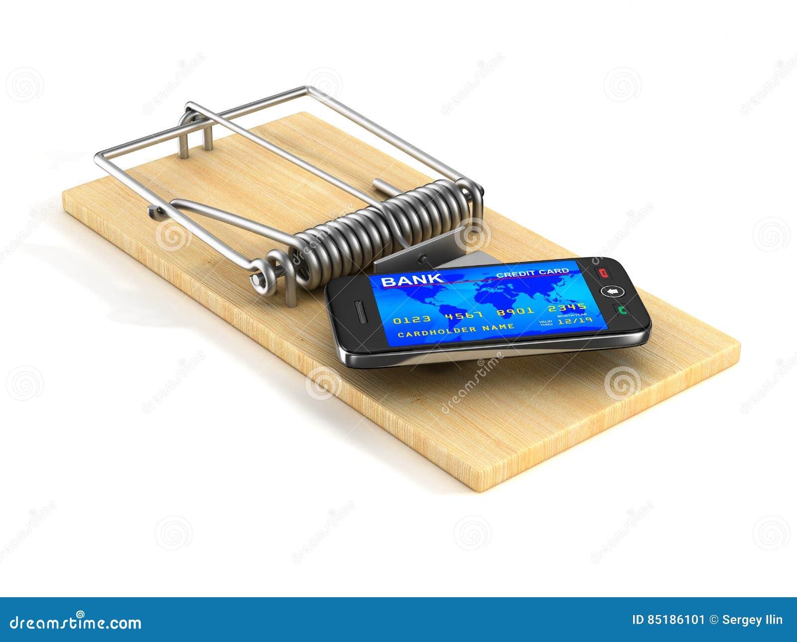 Telefon i råttfälla Isolerad 3D