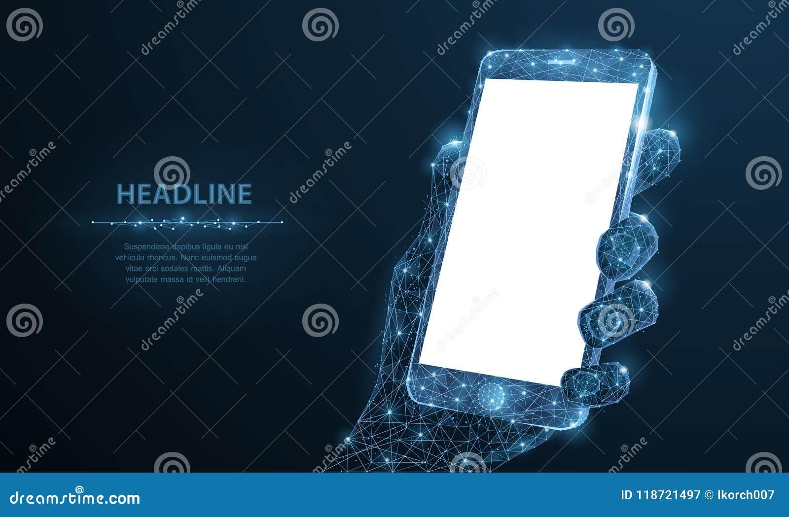 Telefon komórkowy Abstrakcjonistyczny poligonalny wireframe zbliżenia telefon komórkowy z pustego bielu pustym ekranem w mienie m