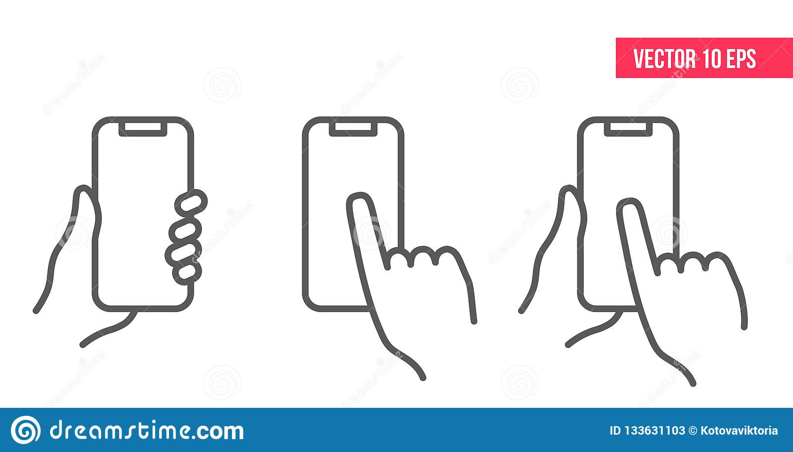 Telefon komórkowy kreskowa ikona nHand mienia smartphone
