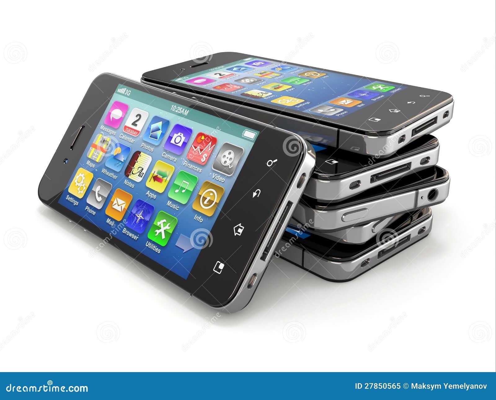 Telefon komórkowy z ekran sensorowy. 3d