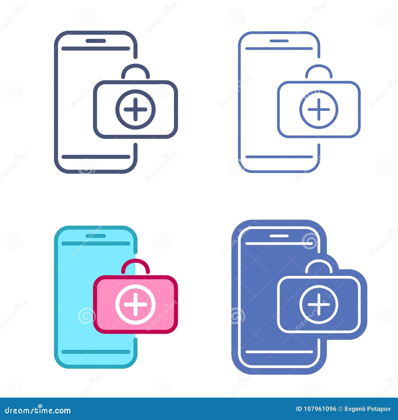 Telefon komórkowy z pierwsza pomoc zestawu symbolem Telemedicine ikony set