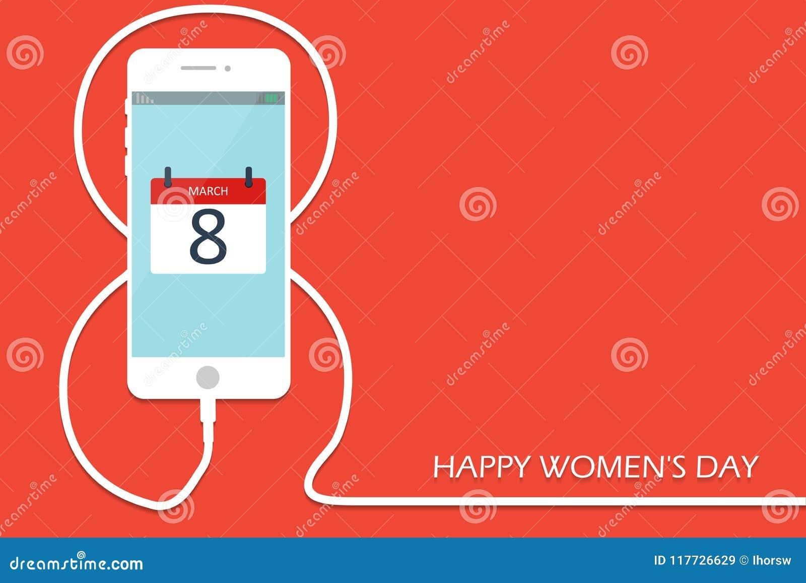 Telefon med linjen åtta tråd Laddning för smartphone för översikts8 mars, internationellt kort för dag för kvinna` s EPS10