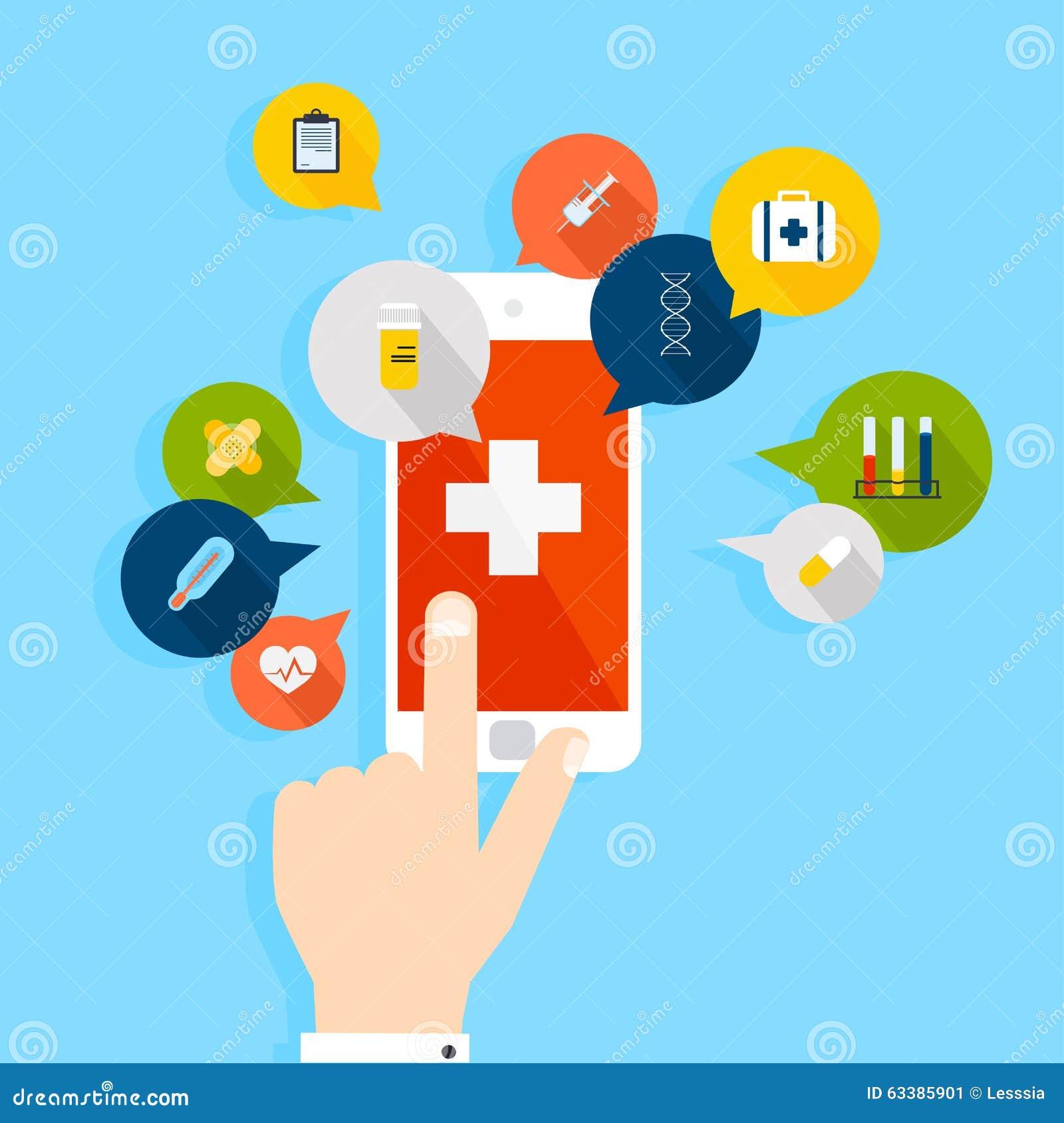 Telefone celular com a aplicação da saúde aberta com mão Modo de vetor