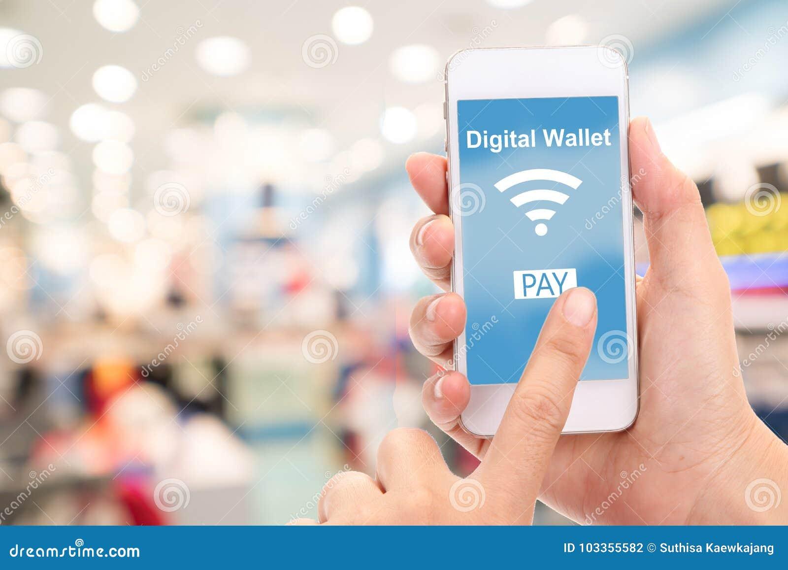 Telefone celular com conceito digital da carteira, armazém do borrão