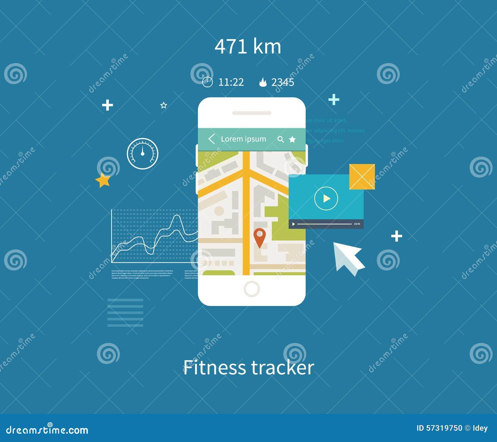 Telefone celular do vetor - conceito do app da aptidão sobre
