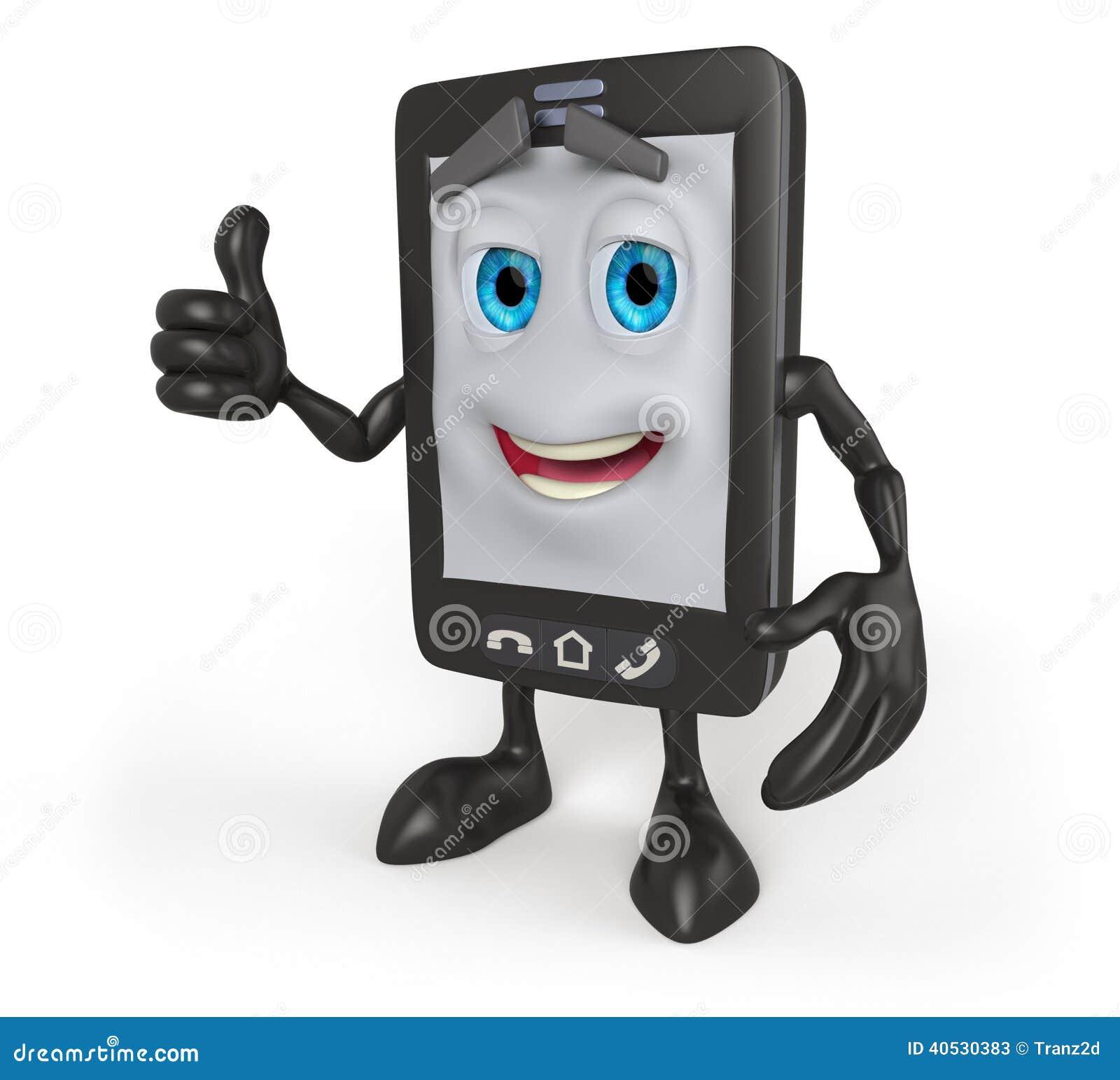Telefone Celular Dos Desenhos Animados 3d Com Polegares