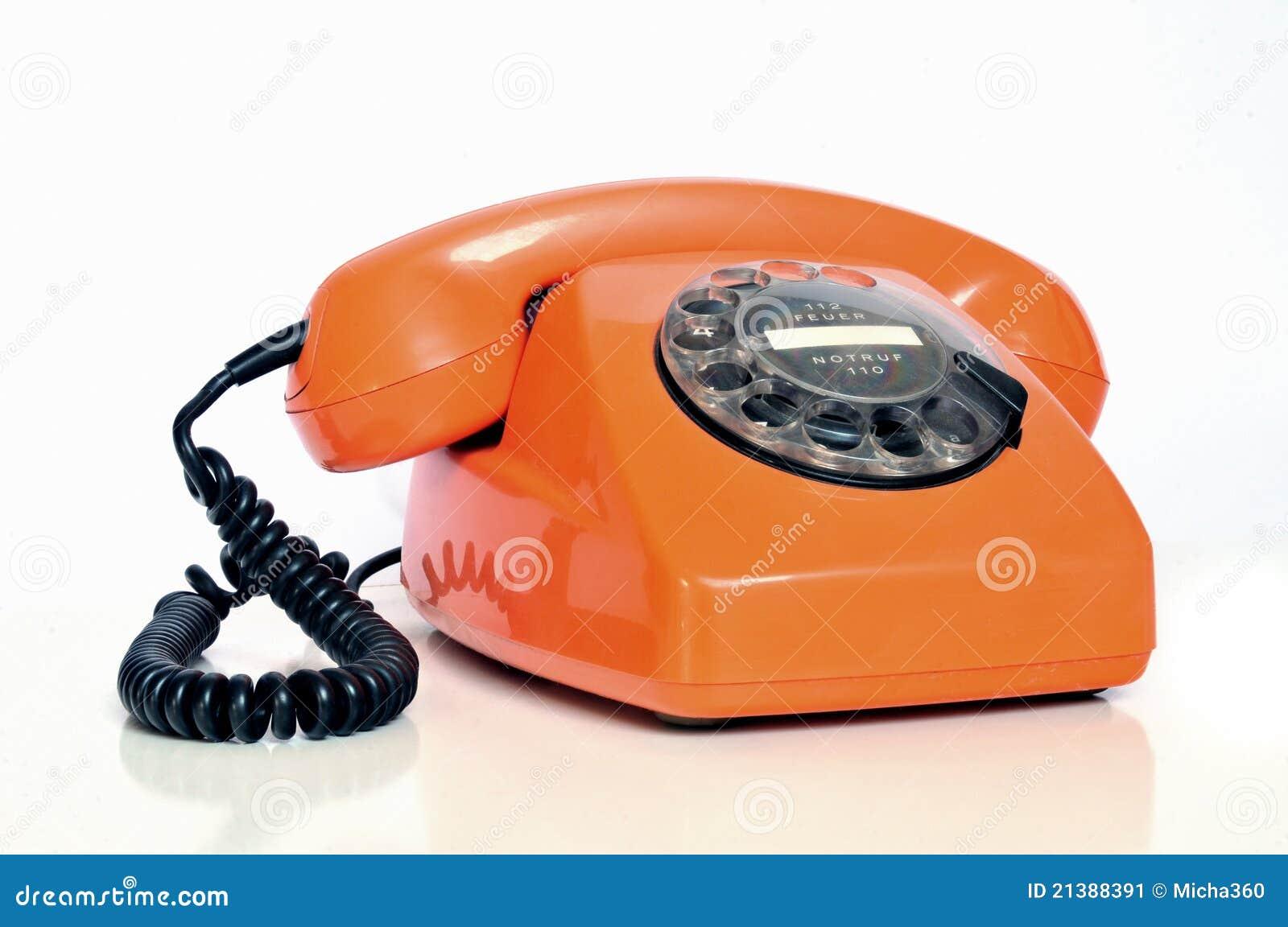 Telefone colorido alaranjado
