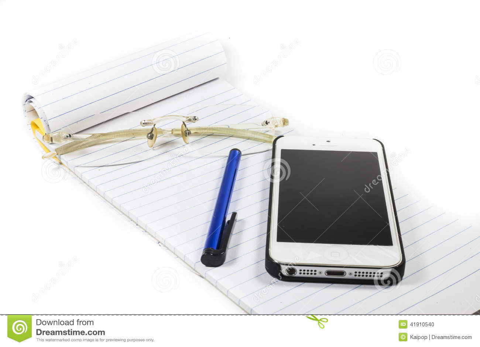 Telefone da pena do caderno dos vidros