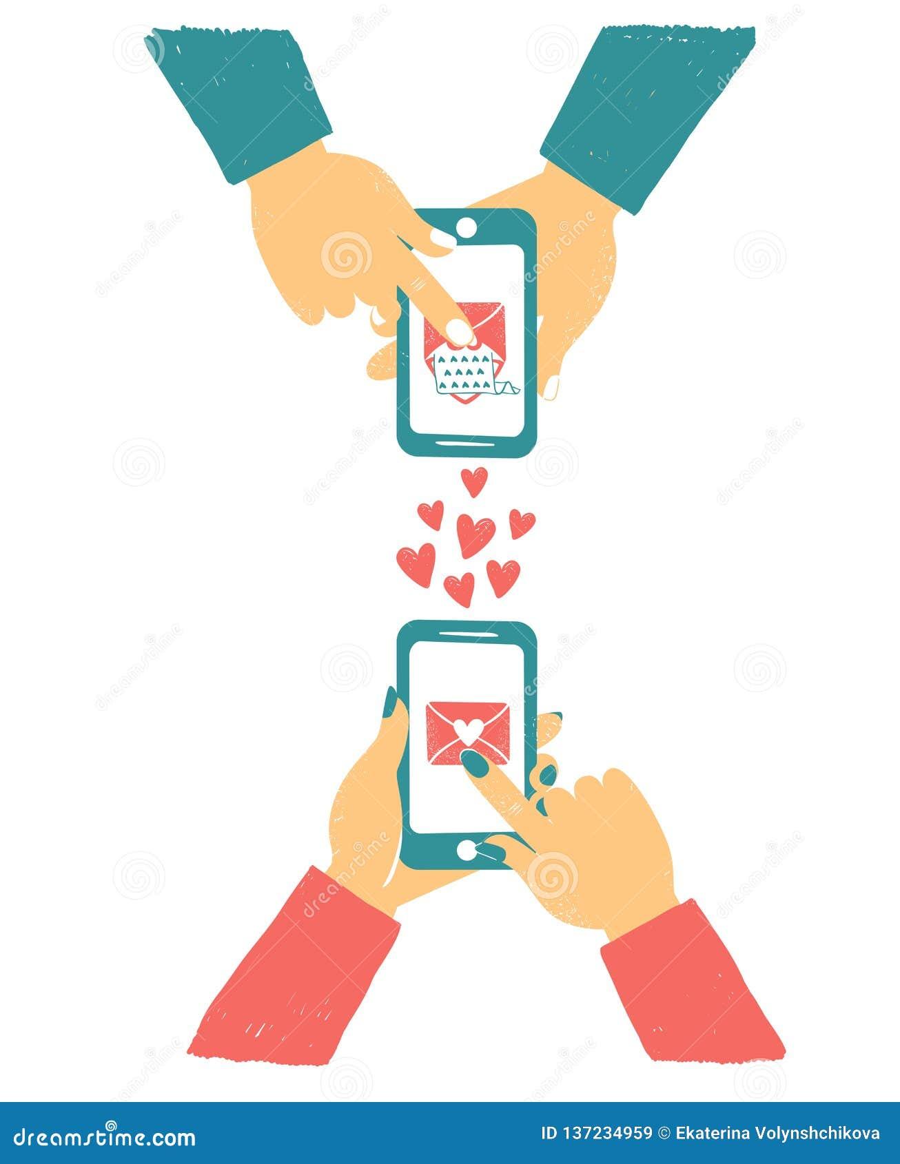 Telefone da terra arrendada da mão dos homens e das mulheres com correios do amor Bate-papo em linha do amor no Internet Como a t