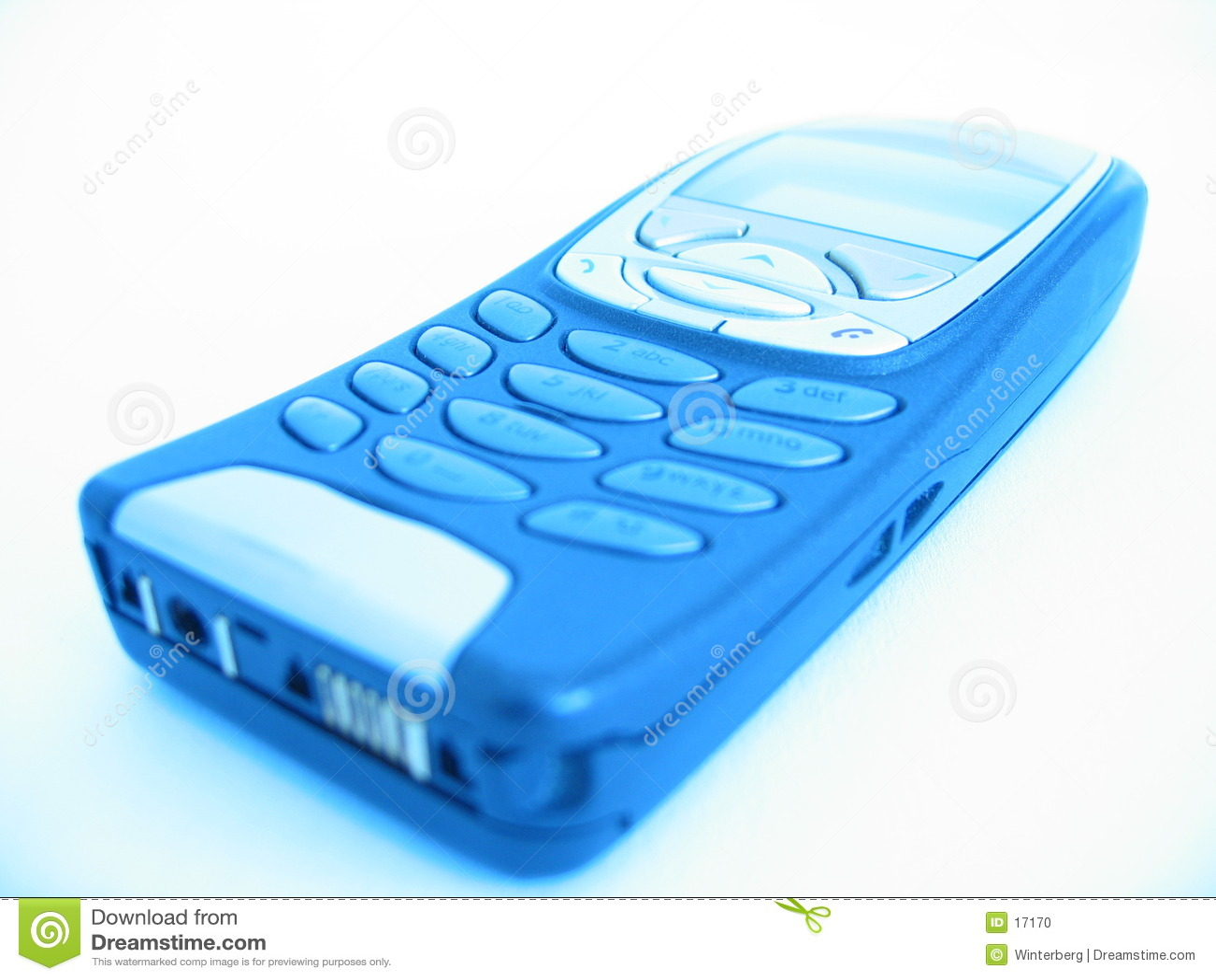 Telefone de pilha no brilho azul