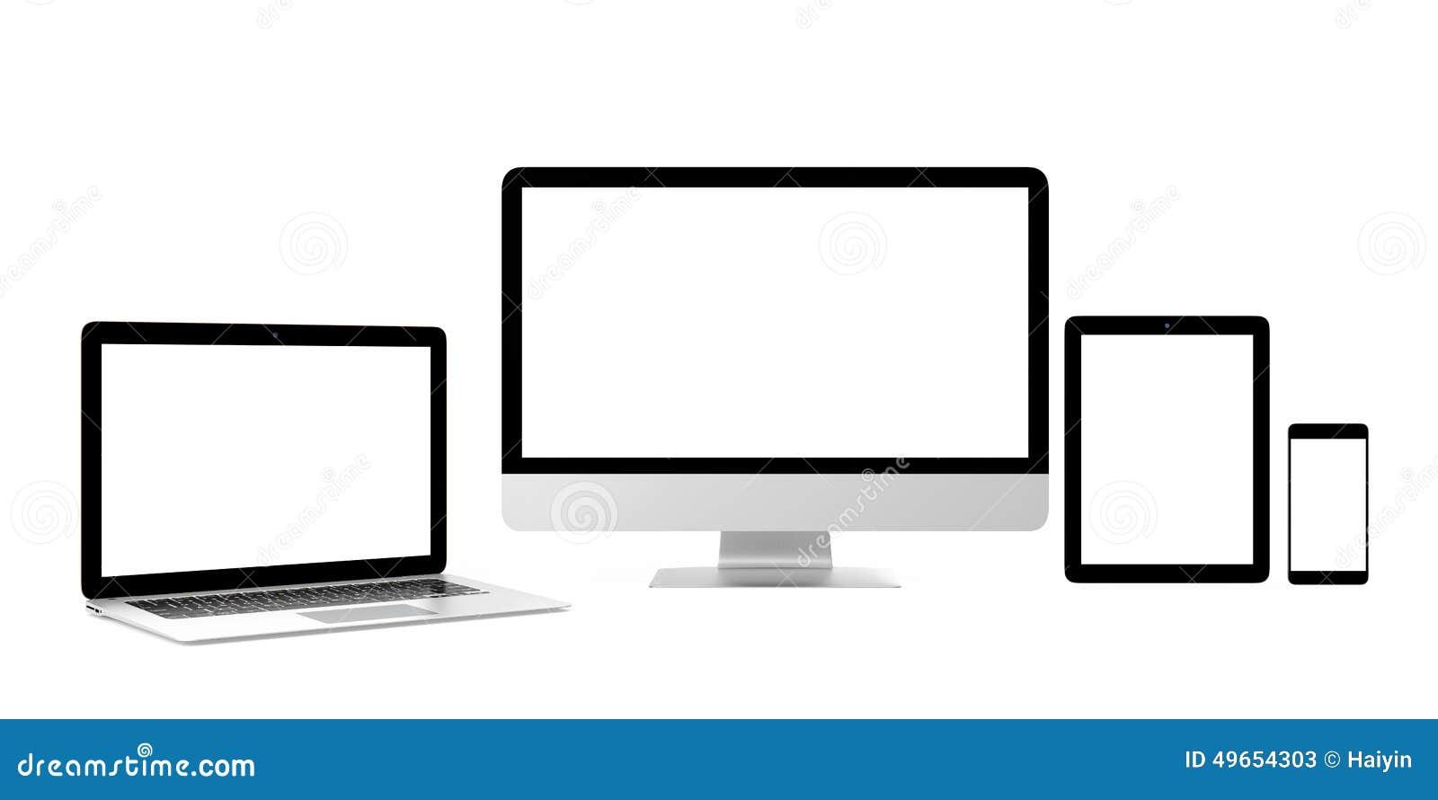 Telefone esperto, portátil, computador de secretária com a tela vazia para o espaço da cópia