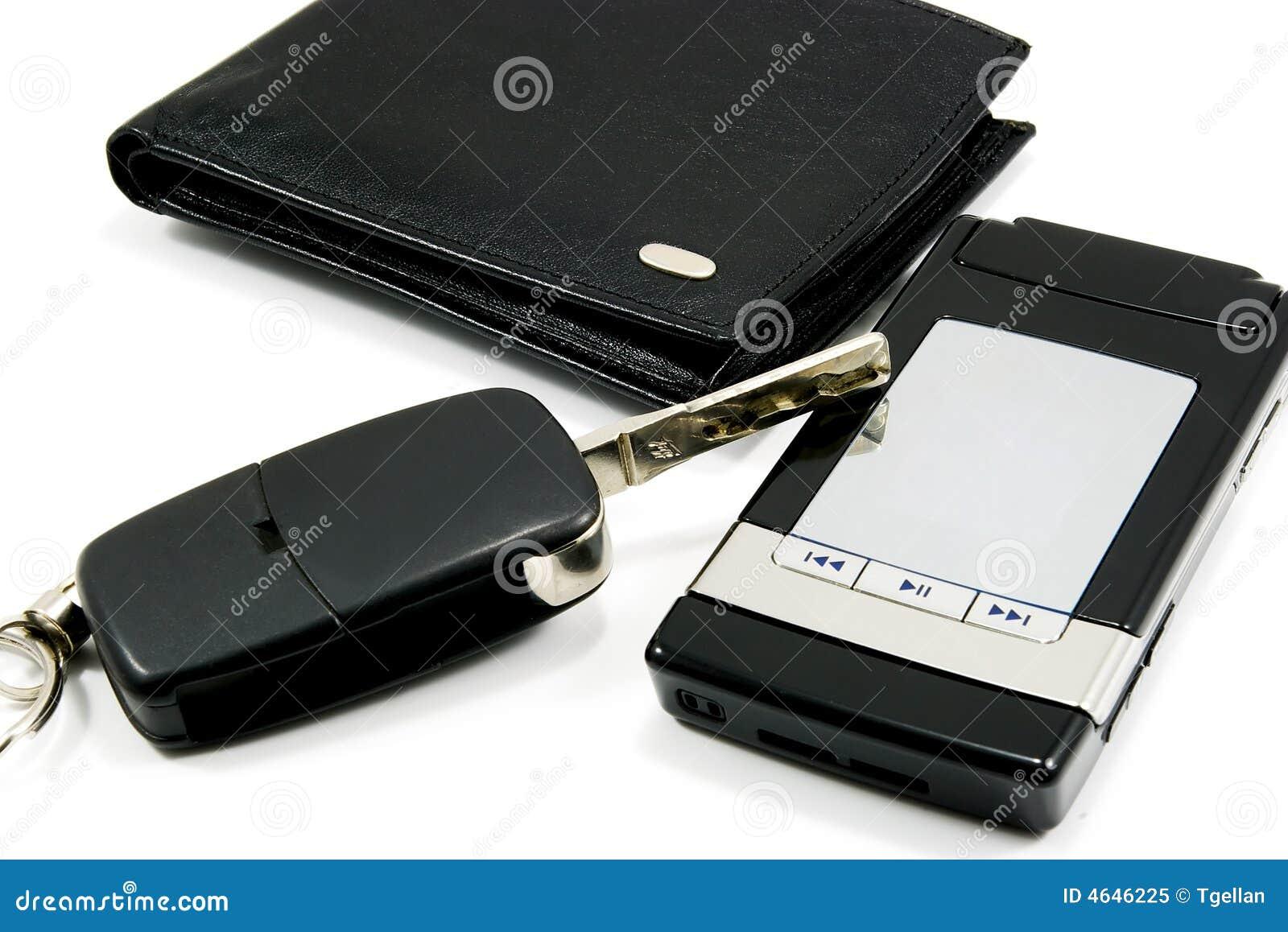 Telefone móvel 2 da chave preta do carro da carteira
