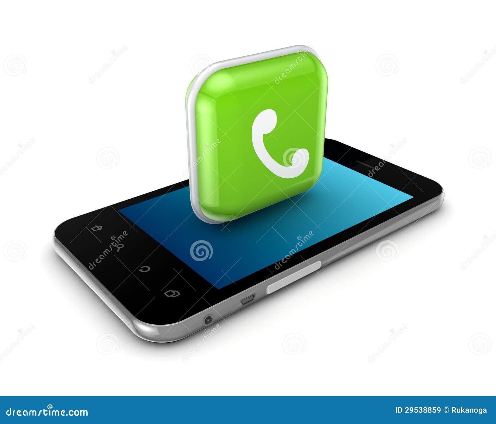 Telefone móvel com ícone da chamada.