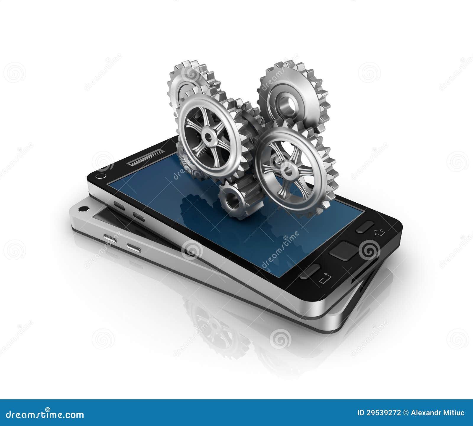 Telefone móvel e engrenagens. Conceito do desenvolvimento de aplicações.