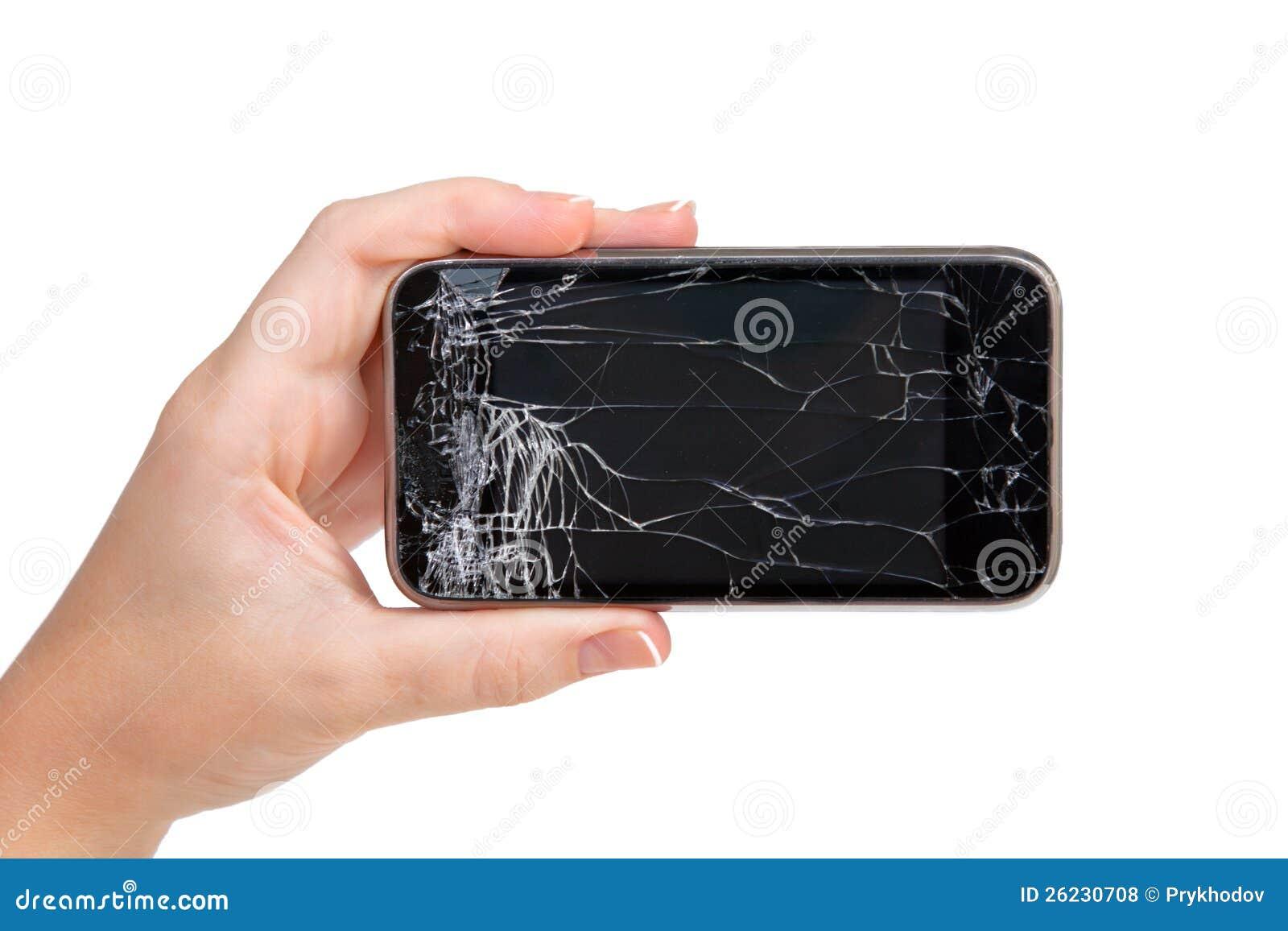 Telefone quebrado em uma mão