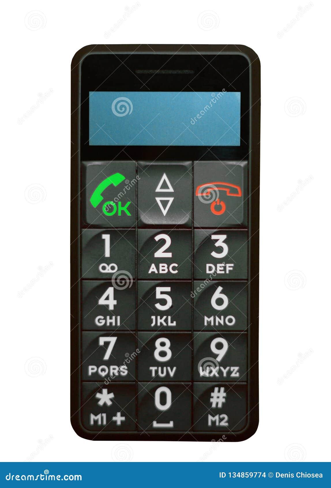 Telefone velho típico com chaves e botões