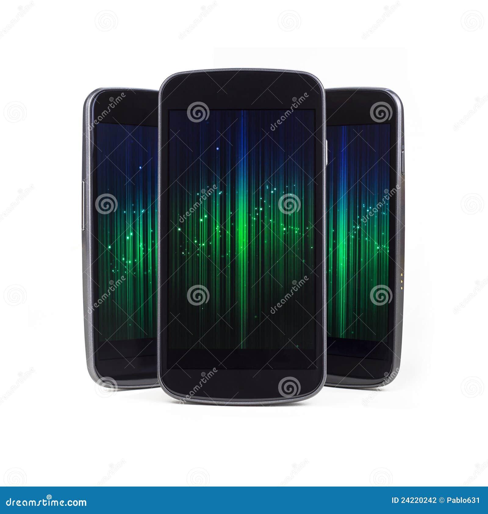 Telefones espertos múltiplos sobre o branco