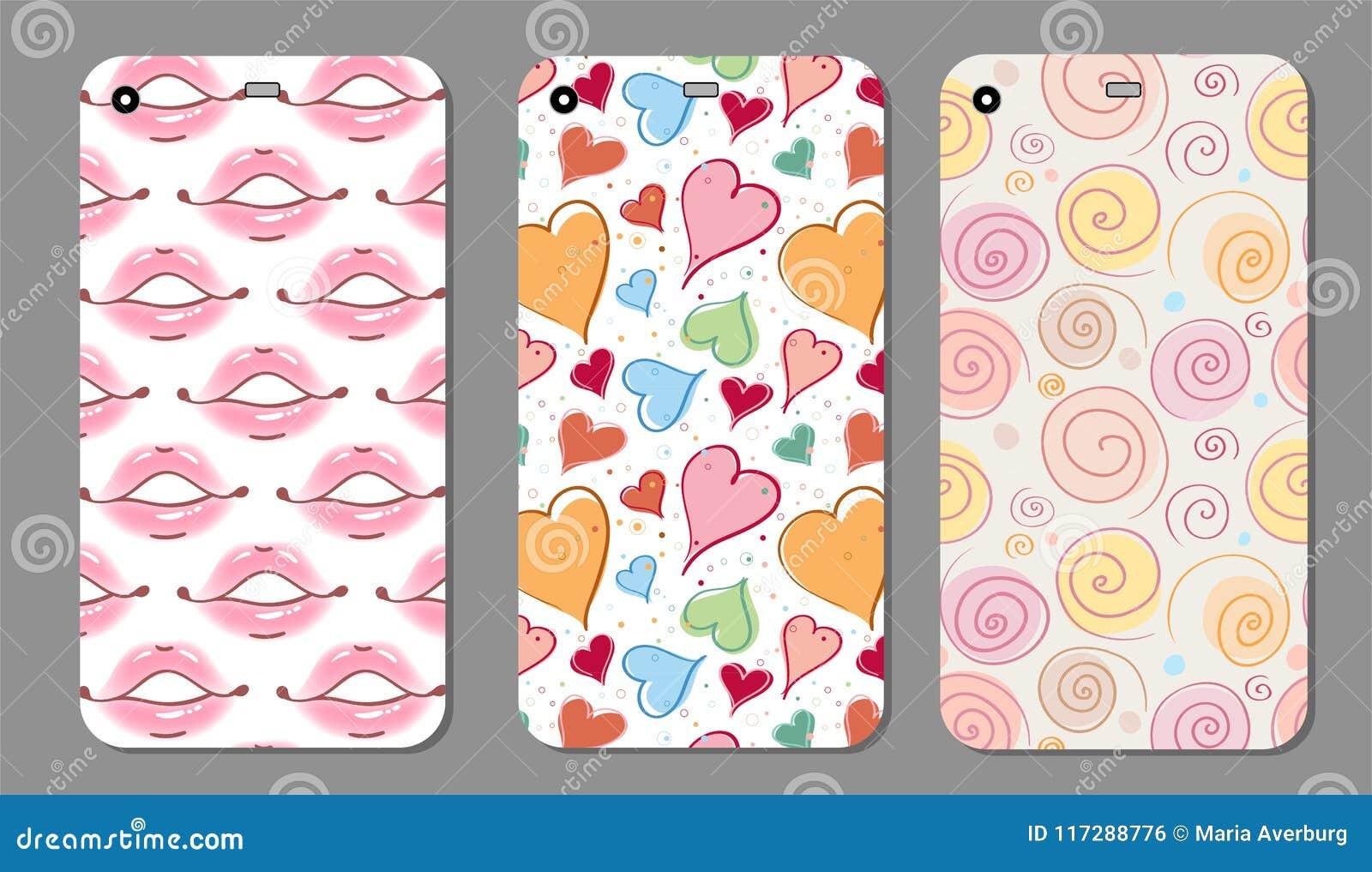 Telefonfallsamling Härliga kanter för Closeup av kvinnan med röd läppstift och glans Sexigt vått kantsmink öppen mun
