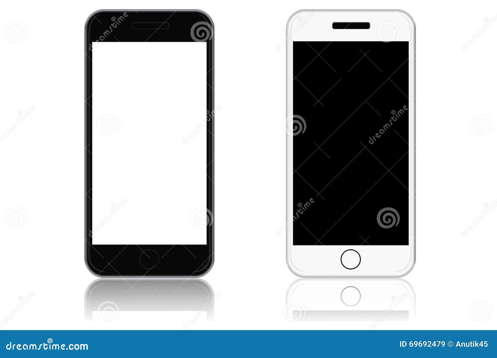 Telefoni di touch screen moderni, illustrazione di vettore