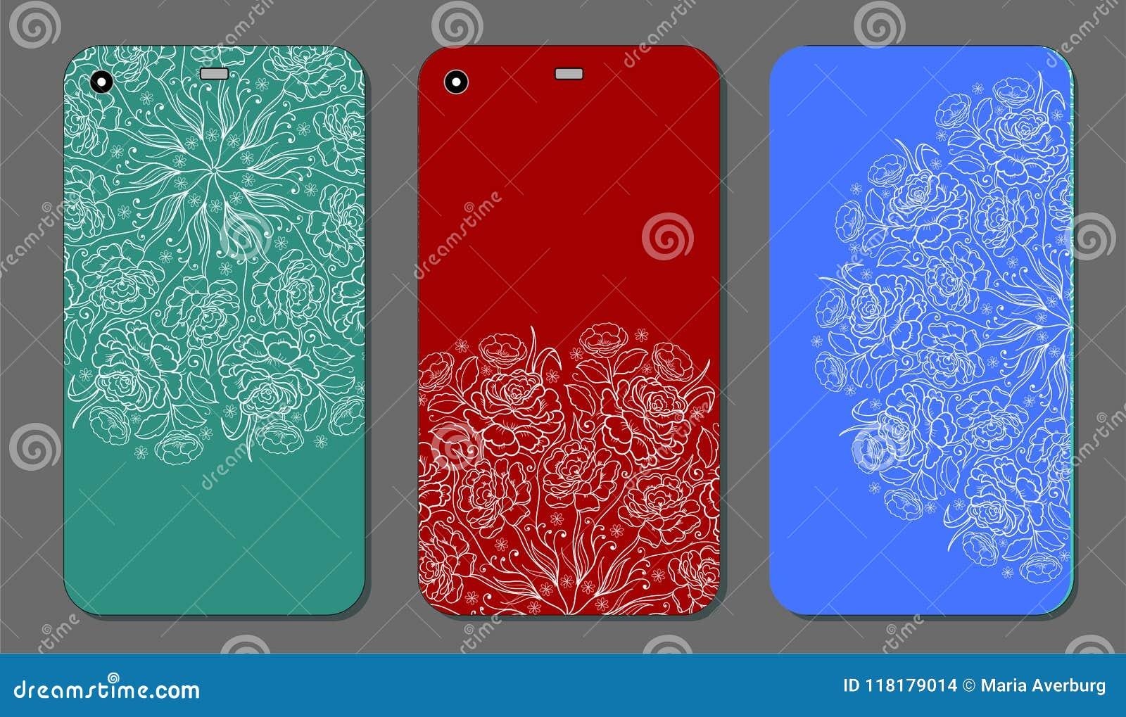Telefonkastendesign Moderne Blumenverzierungen für Handyabdeckung, Blumenmandala Handyfall weinlese
