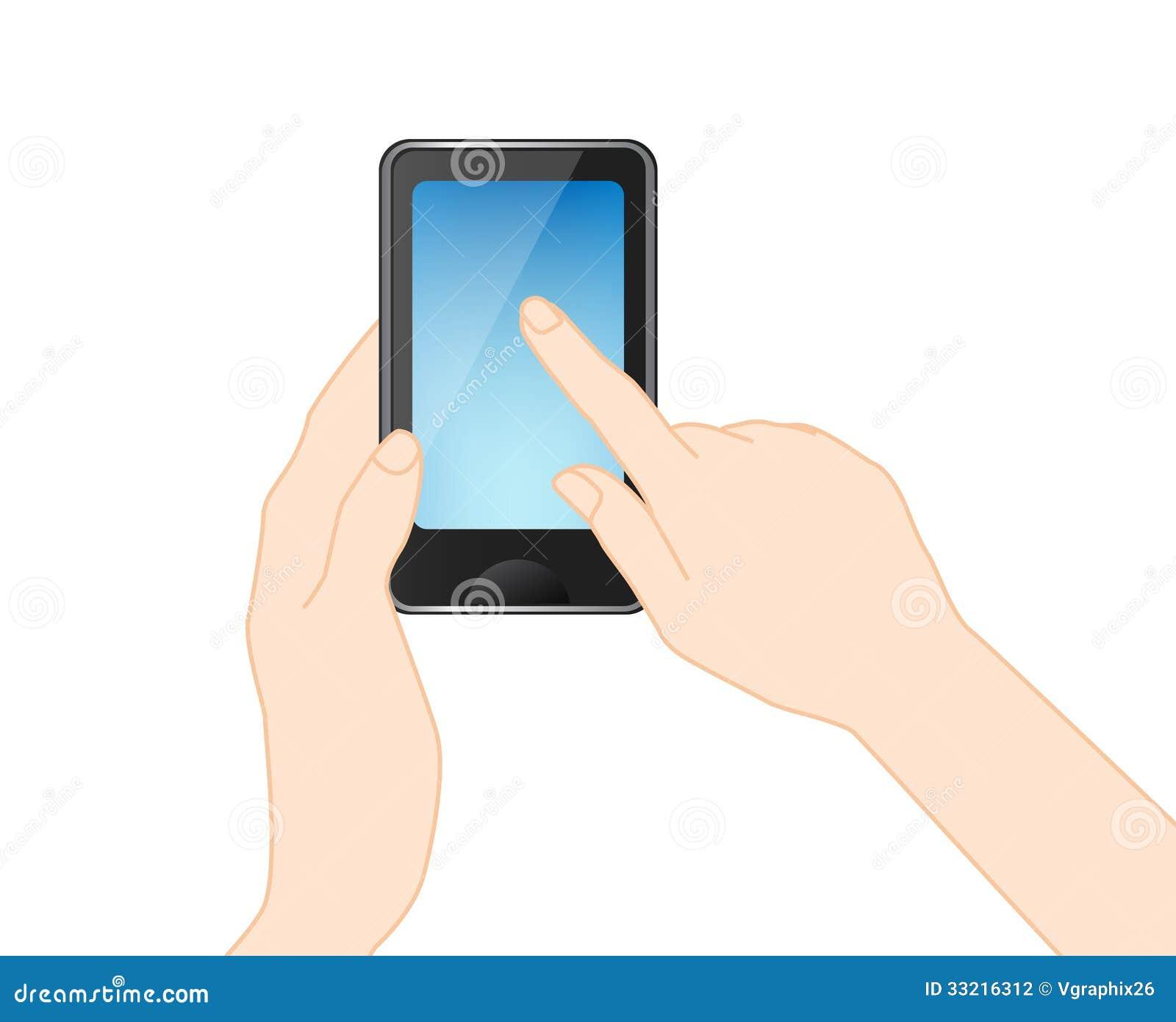 Telefono cellulare con la mano vettore fotografia stock for Mobile telefono