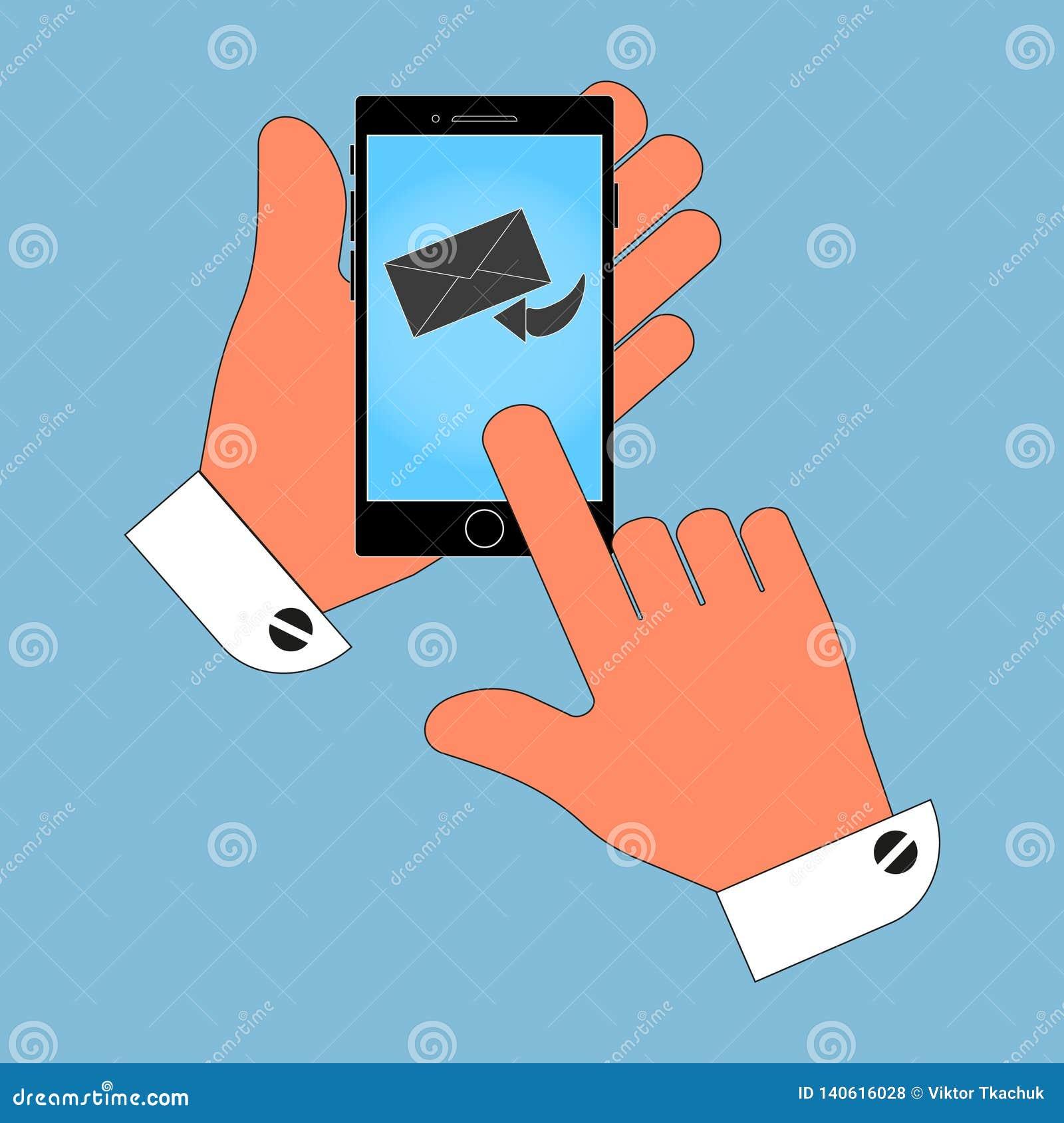 Telefono dell icona in sua mano sullo schermo della busta, un messaggio, isolamento su un fondo blu