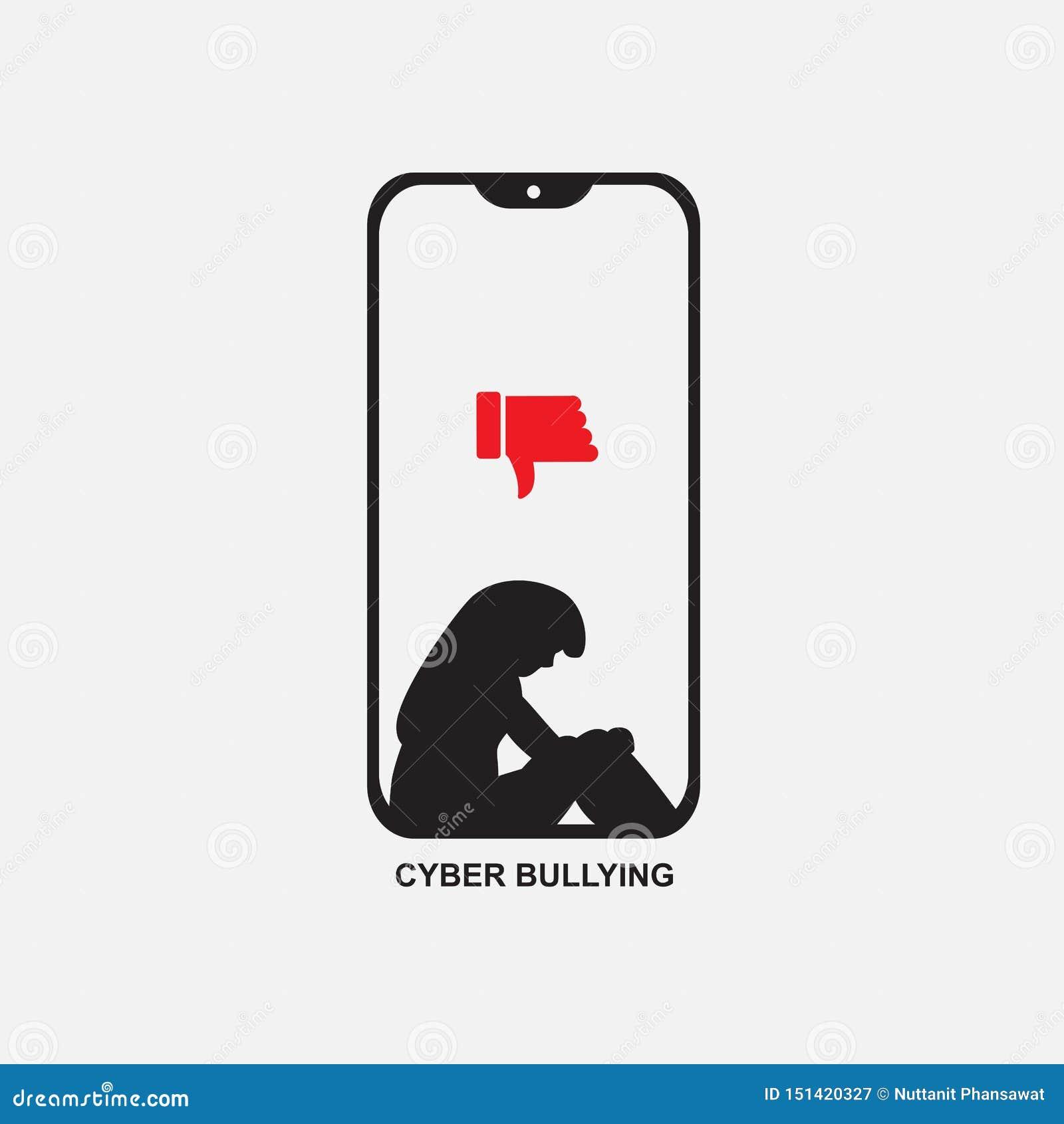 Telefono di cyberbullismo con il grafico triste della donna, vettore dell icona